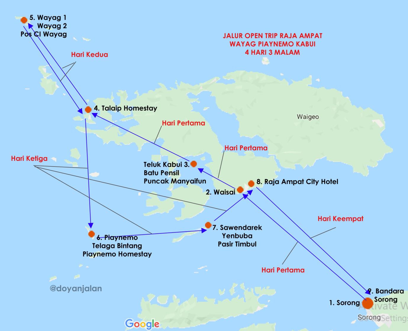 Peta Wisata Raja Ampat